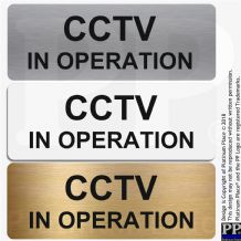 CCTV In Operation-TEXT ONLY-Aluminium Metal Sign-Door,Notice,Office,Business,Security,Camera,Home